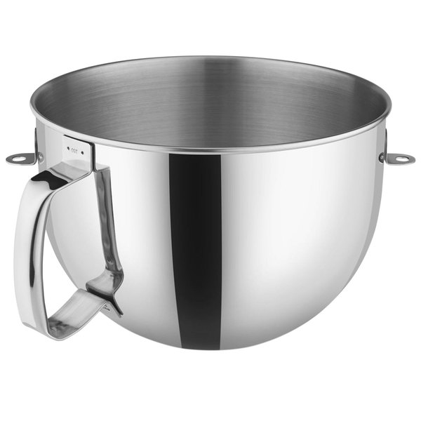 KitchenAid KN2B6PEH Polished Stainless Steel 6 Qt. Mixing Bowl with Handle for Stand Mixers Main Image 1