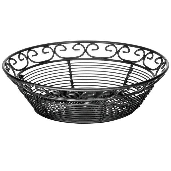 """Tablecraft BK27508 Mediterranean Round Black Metal Basket - 8"""" x 2 1/4"""""""