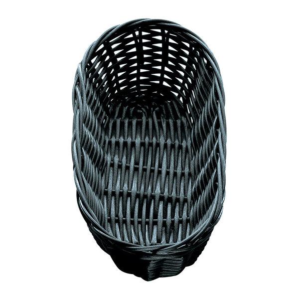 "Tablecraft 2417 9"" x 3 1/2"" x 2"" Black Oblong Rattan Basket - 12/Pack"