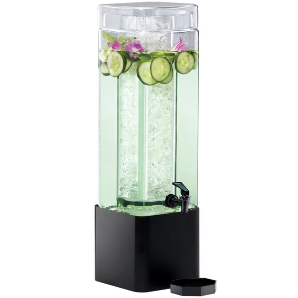 Cal-Mil 1112-3A-13 3 Gallon Mission Square Acrylic Beverage Dispenser with Black Metal Base and Ice Core