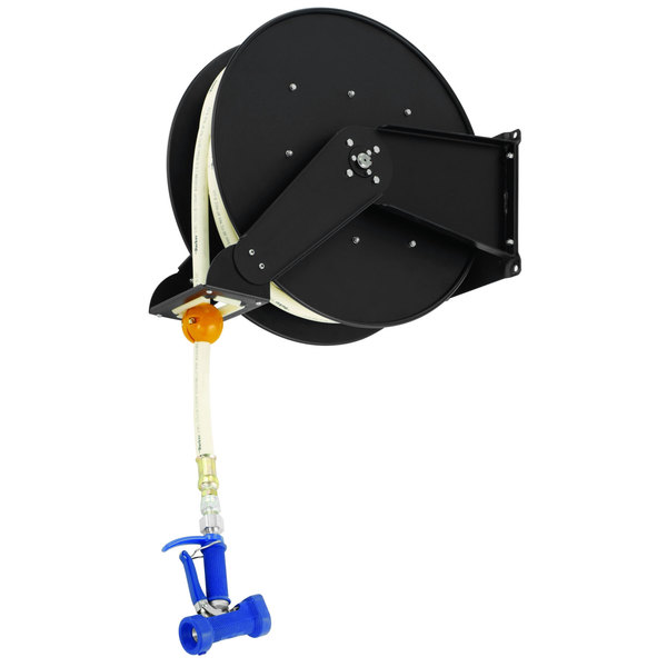 """T&S B-7245-06 50' Open Epoxy Coated Steel Hose Reel with MV-2522-34 7/16"""" Front Trigger Water Gun"""