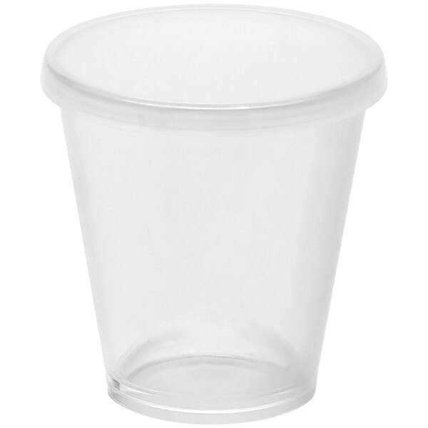 American Metalcraft 1.5 oz. Reusable Clear Plastic Cup with Lid PMC15 - 12/Pack Main Image 1