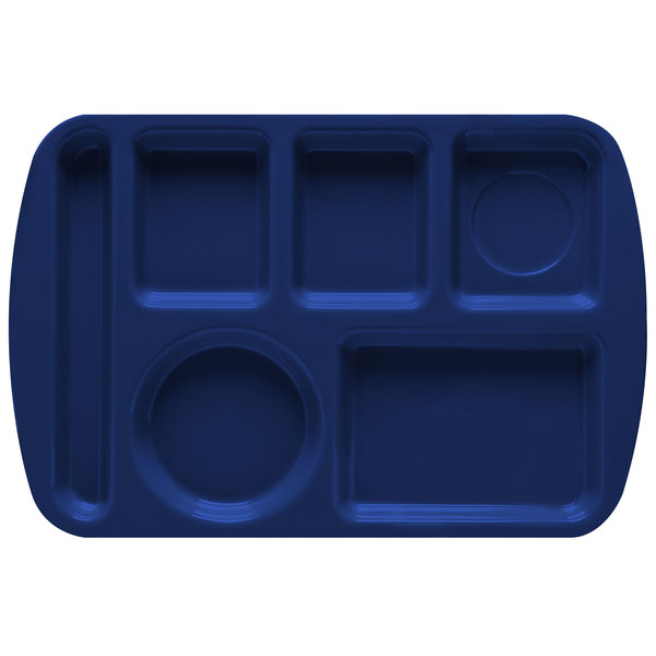 "GET TL-151 Navy Blue Melamine 9 1/2"" x 14 3/4"" Left Hand 6 Compartment Tray - 12/Pack"