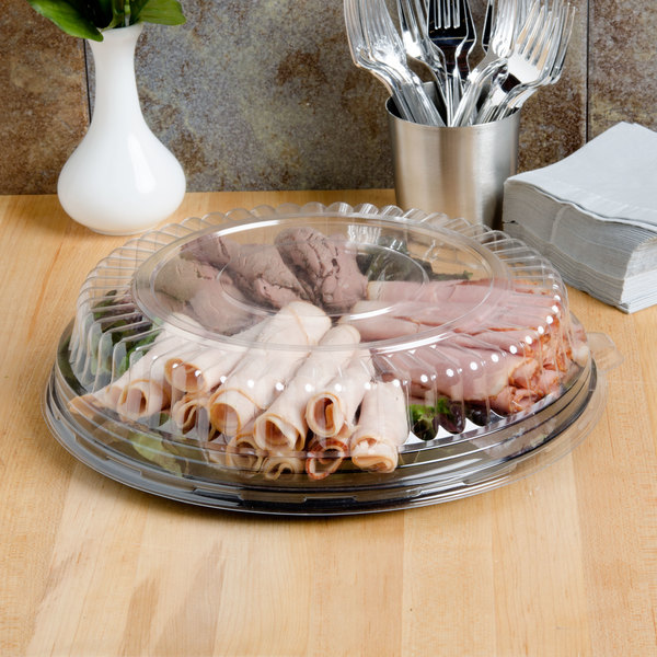 """Fineline Platter Pleasers 7210TF PET Plastic Black Thermoform 12"""" Catering Tray - 25/Case"""