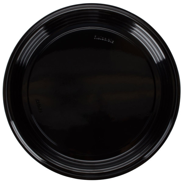 Fineline Platter Pleasers 7210TF-BK PET Plastic Black Thermoform 12 inch Catering Tray - 25/Case