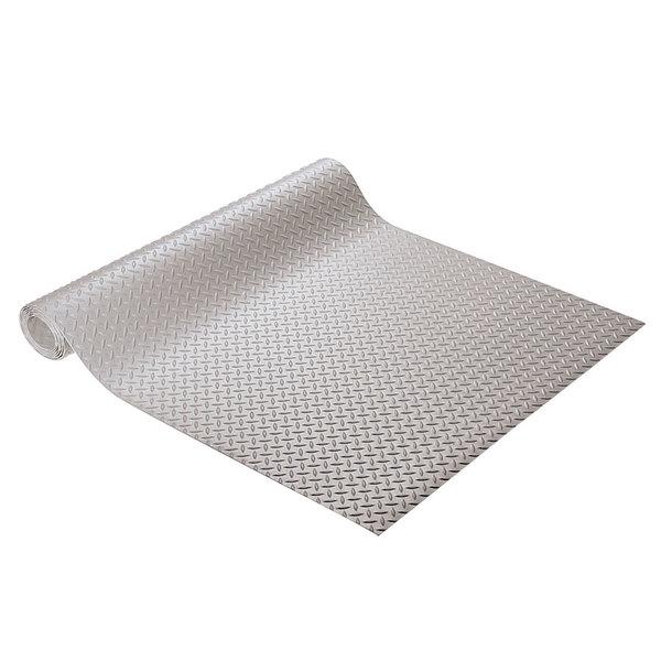 """Cactus Mat 1051R-E4R Diamond Plate 4' Wide Anti-Slip Gray Vinyl Deckplate Runner Mat - 5/32"""" Thick"""