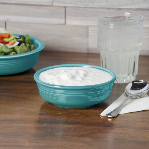 Homer Laughlin HL460107 Fiesta Turquoise 14.25 oz. Small China Nappy Bowl - 12/Case Main Image 3