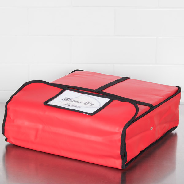 """American Metalcraft PB1800 Standard Red Vinyl Pizza Delivery Bag, 18"""" x 18"""" x 4"""" - Holds Up To (2) 16"""" Pizza Boxes Main Image 10"""