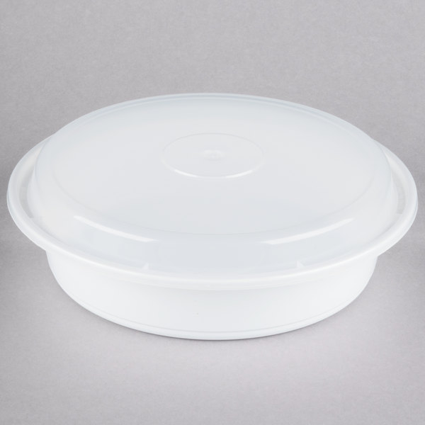 Newspring NC-737 35 oz. White 8 inch VERSAtainer Round Microwavable Container with Lid - 150/Case