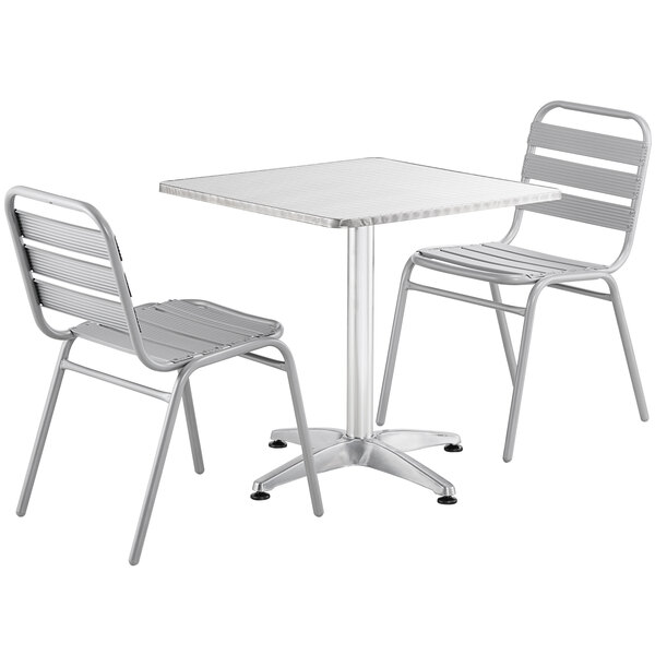 """Lancaster Table & Seating 28"""" Chrome Powder-Coated Square Steel and Aluminum Dining Set with 2 Aluminum Outdoor Side Chairs Main Image 1"""