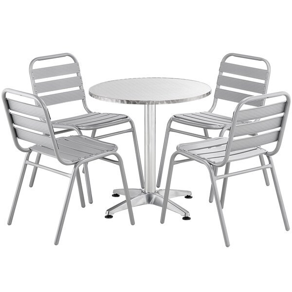 """Lancaster Table & Seating 28"""" Chrome Powder-Coated Round Steel and Aluminum Dining Set with 4 Aluminum Outdoor Side Chairs Main Image 1"""