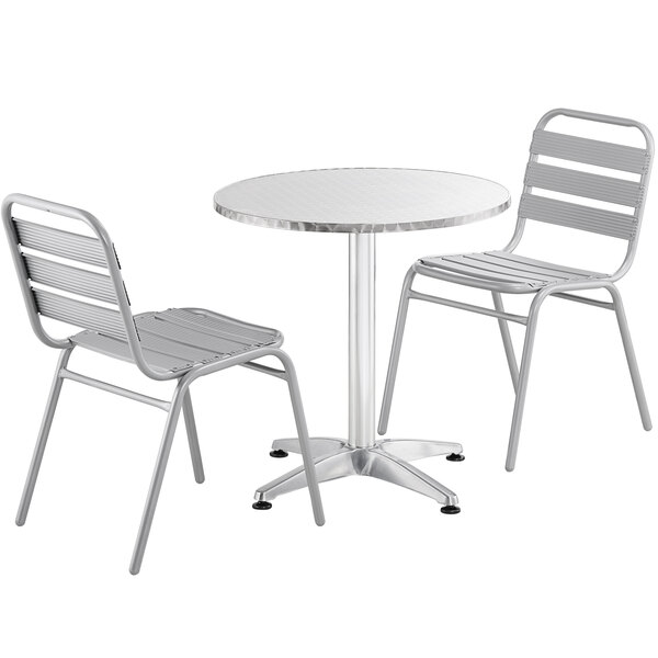 """Lancaster Table & Seating 28"""" Chrome Powder-Coated Round Steel and Aluminum Dining Set with 2 Aluminum Outdoor Side Chairs Main Image 1"""