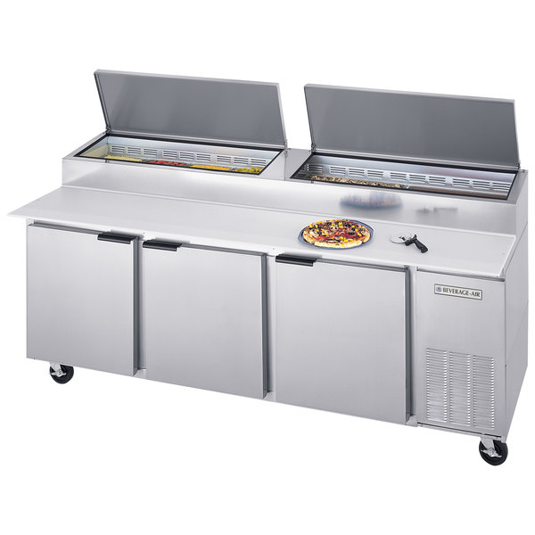 """Beverage-Air DPD93-2 93"""" Pizza Prep Table with Two Doors and Two Drawers"""