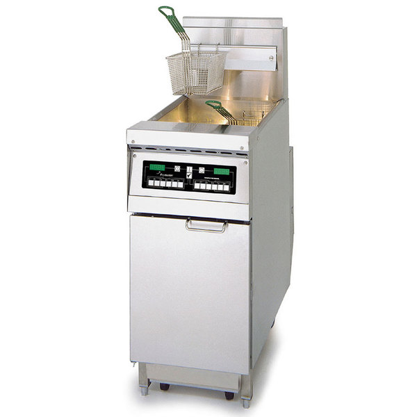 Frymaster PH155-C Natural Gas High Efficiency Fryer 50 lb. with Programmable Computer Controls and Stainless Steel Door - 80,000 BTU Main Image 1