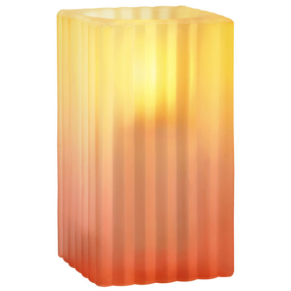 """Sterno Products 80190 4 1/2"""" Square Sunset Gradient Ribbed Glass Liquid Candle Holder"""