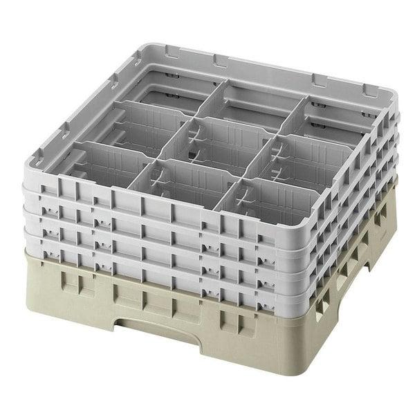 "Cambro 9S800184 Beige Camrack Customizable 9 Compartment 8 1/2"" Glass Rack"