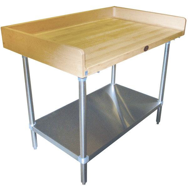 """Advance Tabco BS-364 Wood Top Baker's Table with Stainless Steel Undershelf - 36"""" x 48"""""""