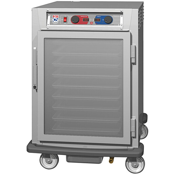 Metro C5 9 Series C595L-SFC-UPFS Half Size Insulated Low Wattage Pass-Through Holding Cabinet with Clear Door and Stainless Steel Universal Slides Main Image 1