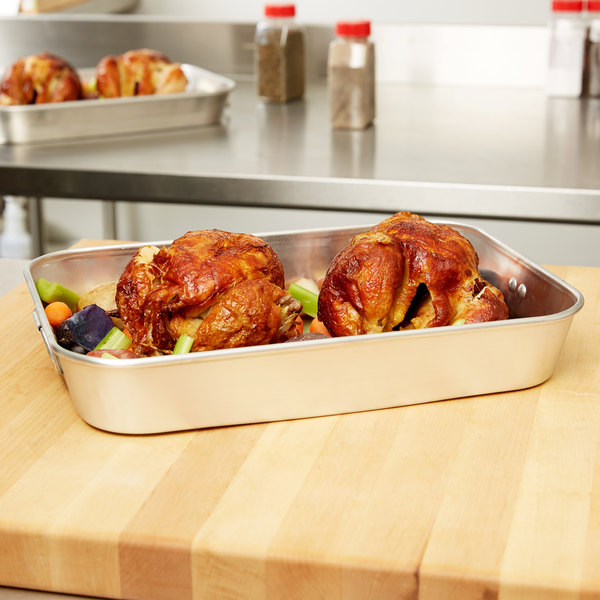 """Vollrath 68078 Wear-Ever 6.25 Qt. Aluminum Baking and Roasting Pan with Handles - 15 3/8"""" x 10 7/8"""" x 2 3/8"""" Main Image 3"""