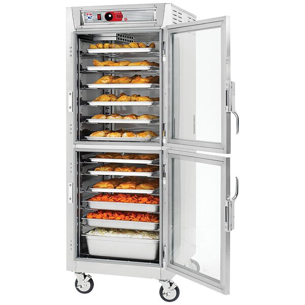Metro C5 8 Series C589L-SDC-UPDC Full Size Insulated Low Wattage Pass-Through Holding Cabinet with Clear Dutch Doors and Chrome Universal Slides Main Image 1