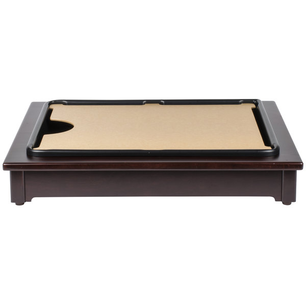 dark wood frame. calmil 81052 cutmate carving station kit with dark wood frame drip tray and cutting board