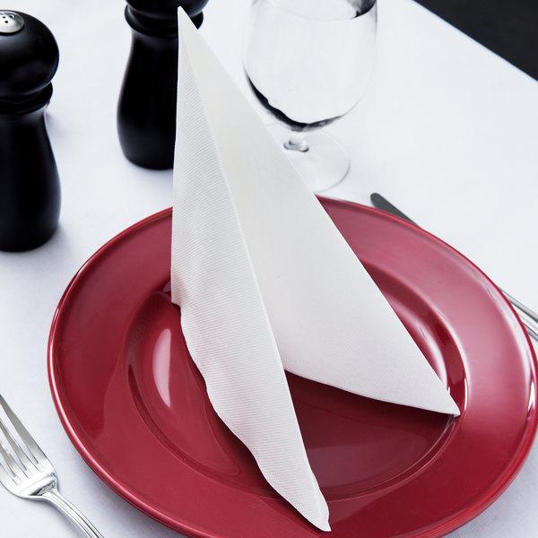 """Hoffmaster FashnPoint 15 1/2"""" x 15 1/2"""" White 1/4 Fold Linen-Feel Dinner Napkin - 800/Case"""