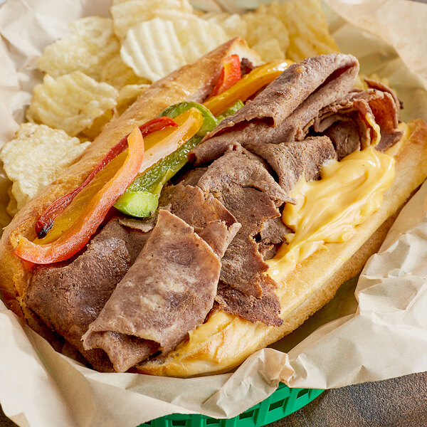 B&M Philly Steaks 6 oz. Chunked and Formed Lightly Marinated Sirloin Sandwich Steak - 26/Case Main Image 2