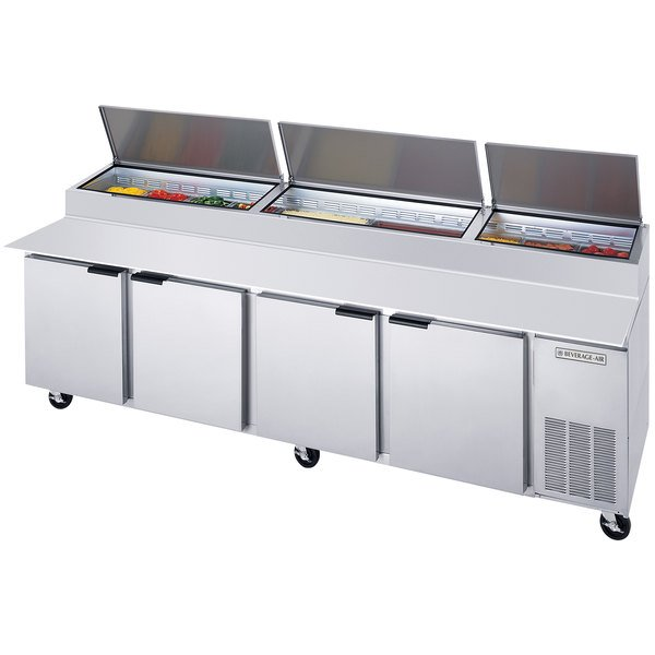 """Beverage-Air DPD119-2 119"""" Pizza Prep Table with Three Doors and Two Drawers"""
