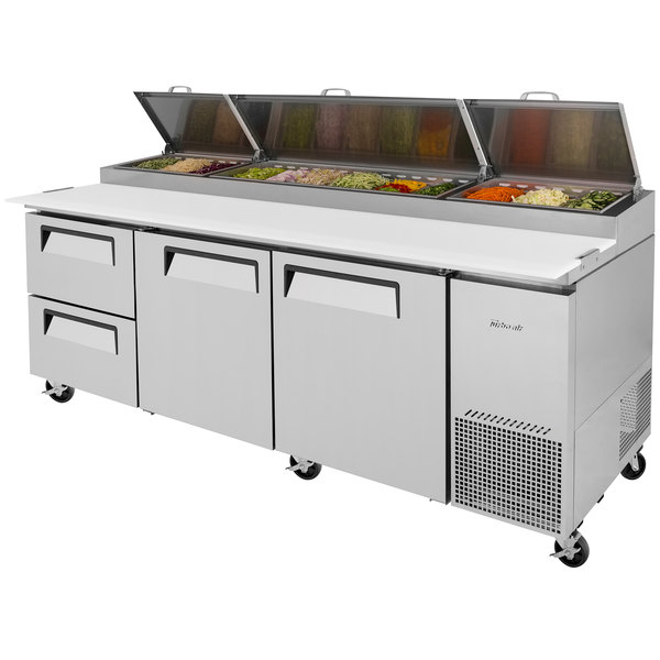 """Turbo Air TPR-93SD-D2 93"""" Pizza Prep Table with Two Doors and Two Drawers"""
