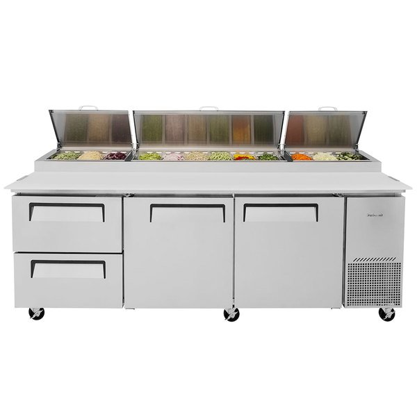 "Turbo Air TPR-93SD-D2-N 93"" Pizza Prep Table with 2 Doors and 2 Drawers"