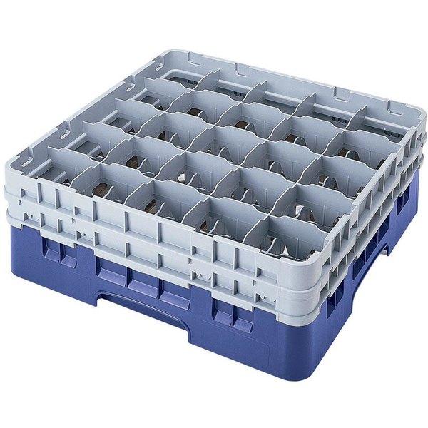 "Cambro 25S418168 Camrack 4 1/2"" High Customizable Blue 25 Compartment Glass Rack"