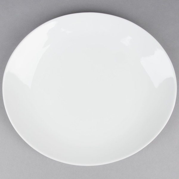 12 inch x 10 1/2 inch Coupe Bright White Oval Porcelain Platter  - 12/Case