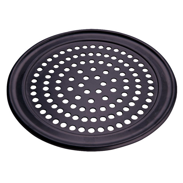 "American Metalcraft SPHCTP14 14"" Super Perforated Hard Coat Anodized Aluminum Wide Rim Pizza Pan"