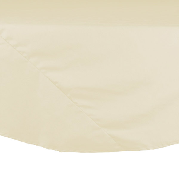 "64"" Ivory Round Hemmed Polyspun Cloth Table Cover"