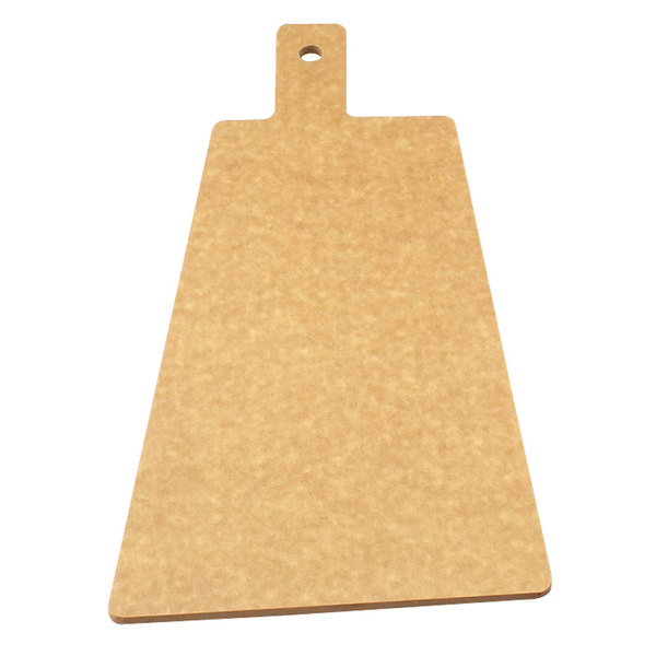 "Cal-Mil 1535-12-14 Natural Trapezoid Flat Bread Serving / Display Board with Handle - 12"" x 8"" x 1/4"""