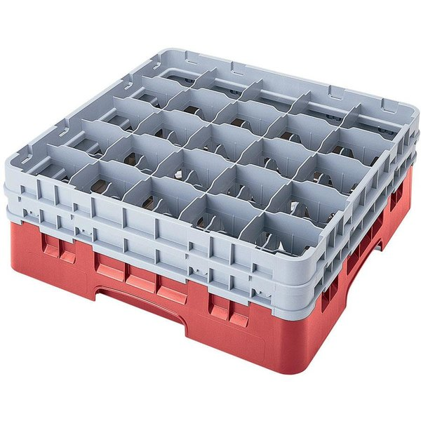 "Cambro 25S534163 Camrack 6 1/8"" High Customizable Red 25 Compartment Glass Rack"