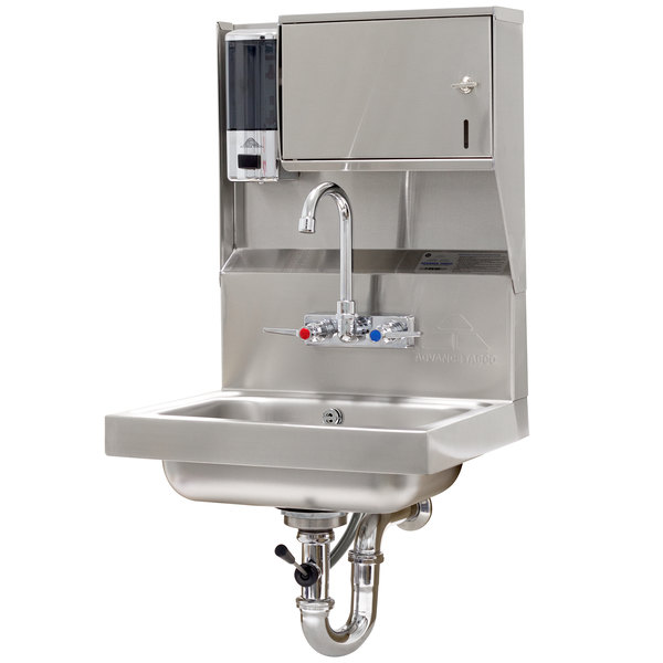"Advance Tabco 7-PS-80 Hand Sink With Towel And Soap Dispenser - 17 1/4"" x 15 1/4"""