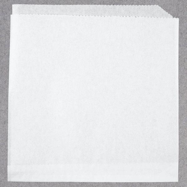Bagcraft Papercon 300418 7 inch x 6 3/4 inch White Wire Cone Basket Liner / Deli Wrap / Double Open Bag - 2000/Case