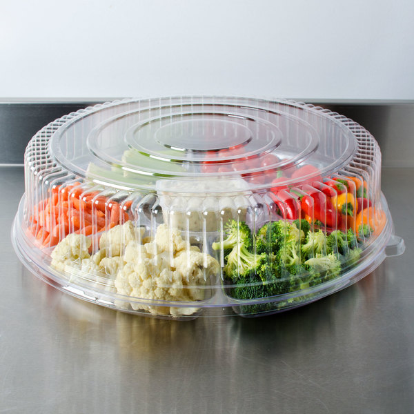 "Fineline Platter Pleasers 9801-L 18"" Clear PET Plastic Round High Dome Lid - 25/Case Main Image 6"