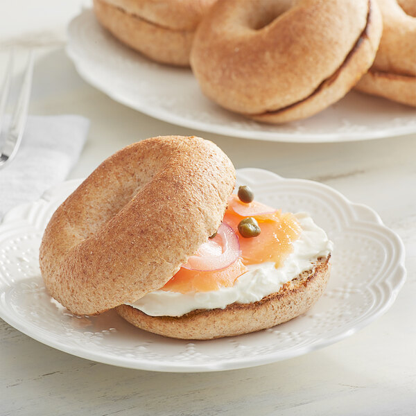 Original Bagel New York Style Sliced Whole Wheat Mini Bagel 1.3 oz. - 144/Case Main Image 2