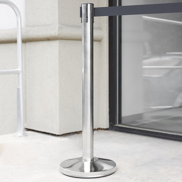 """Stainless Steel 36"""" Crowd Control / Guidance Stanchion with 78"""" Retractable Belt"""