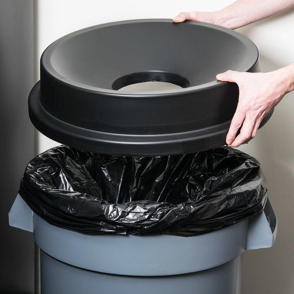 32 Gallon Black Funnel Top Trash Can Lid