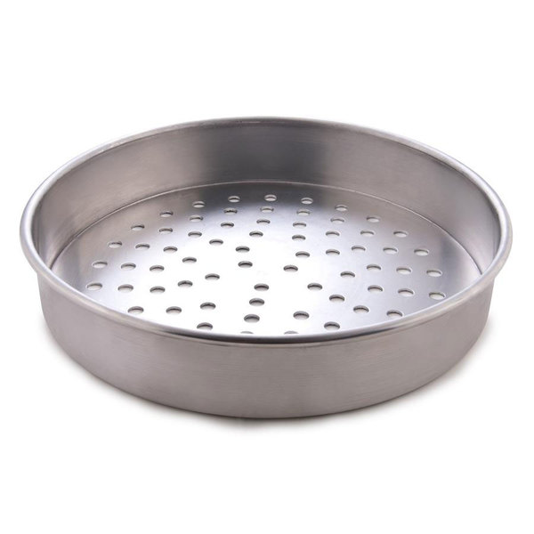 "American Metalcraft PT4014 14"" x 1"" Perforated Tin-Plated Steel Straight Sided Pizza Pan"