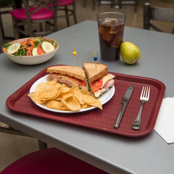 "Carlisle CT121661 Cafe 12"" x 16"" Burgundy Standard Plastic Fast Food Tray"