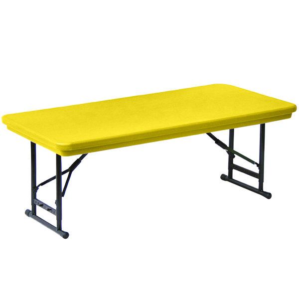 "Correll Adjustable Height Folding Table, 30"" x 60"" Plastic, Yellow - Short Legs - R-Series RA3060S"
