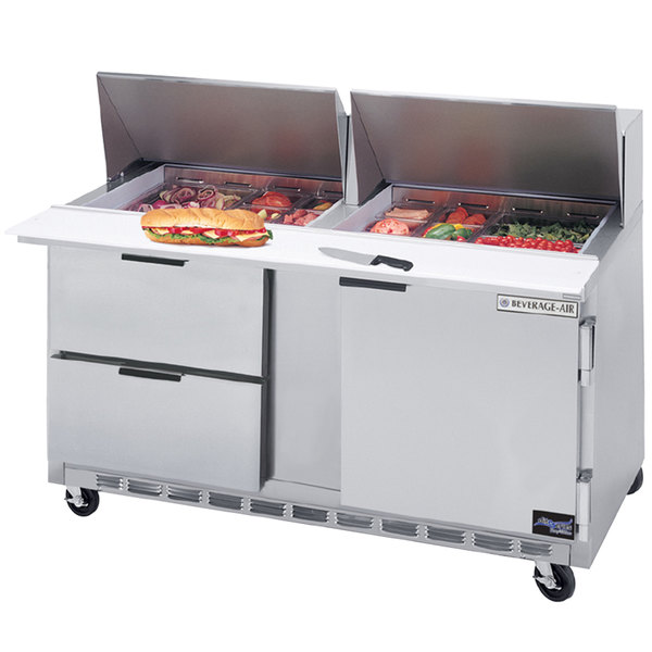 "Beverage Air SPED60HC-12M-2 60"" 1 Door 2 Drawer Mega Top Refrigerated Sandwich Prep Table"