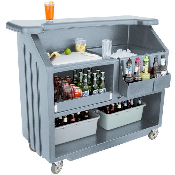 "Cambro BAR540401 Cambar Slate Blue 54"" Portable Bar with 5-Bottle Speed Rail"