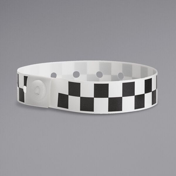"Carnival King Black Checkerboard Disposable Plastic Wristband 5/8"" x 10"" - 500/Box Main Image 1"