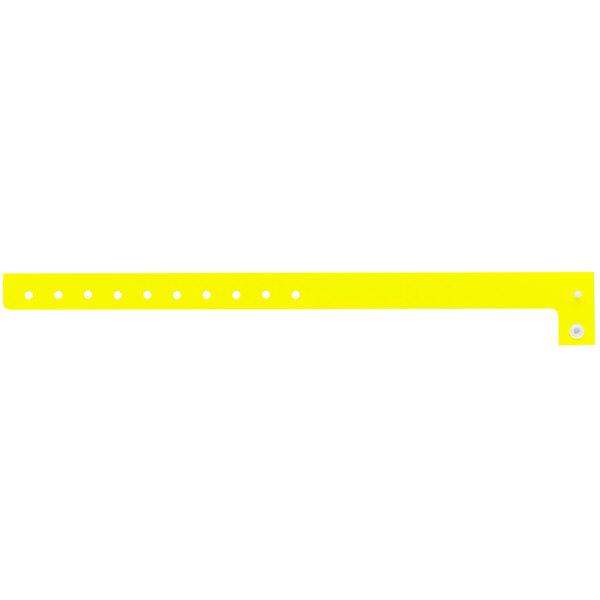 "Carnival King Neon Yellow Disposable Plastic Wristband 5/8"" x 10"" - 500/Box Main Image 1"