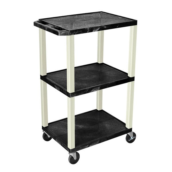 "Luxor WT42E Black Tuffy AV Cart - 3 Shelf, 24"" x 18"" x 42"""